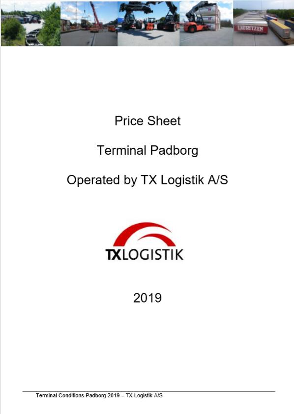 Price Sheet Terminal Padborg 2019 (EN)