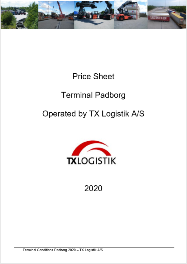 Price Sheet Terminal Padborg 2019 (DK)